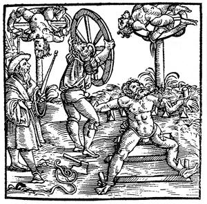 Darstellung des Räderns in einem Holzstich von 1586